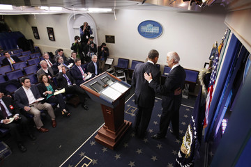 """U.S. VP Biden and President Obama depart following Obama's remarks after the House of Representatives acted on legislation intended to avoid the """"fiscal cliff,"""" in Washington"""