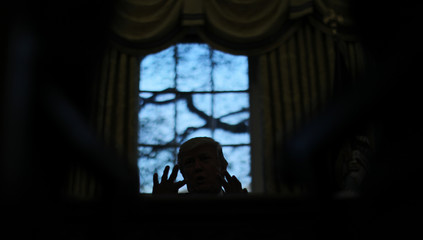 U.S. President Trump speaks during a Reuters interview in the Oval Office at the White House in Washington
