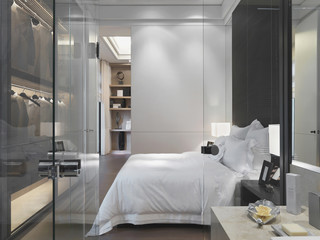 Glass door and wall separating modern bedroom from bathroom