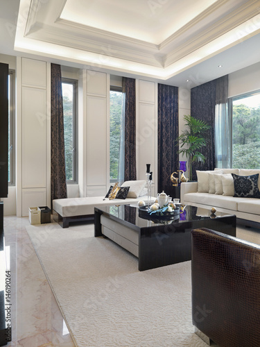 High End Contemporary Living Room With Marble Floors