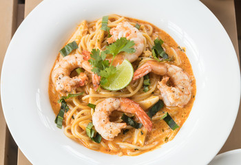 Tom Yum Spaghetti with Shrimp.
