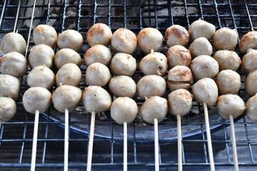 Grilled pork ball,street food in Thailand.