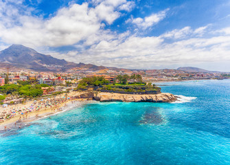 Poster Canarische Eilanden El Duque Beach aerial view in Tenerife, Spain