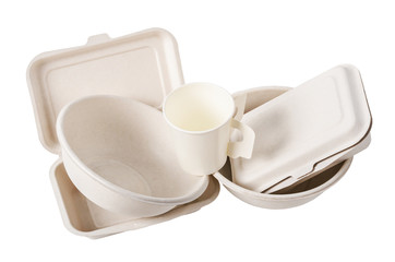 Group of product made from bagasse for container food.