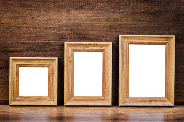 Set of collection blank wooden photo frame.