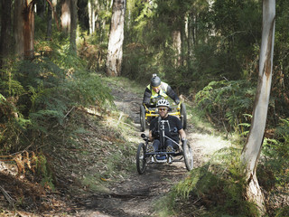 Men riding modified bicycles on forest path