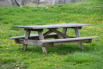 Picnic wooden table with benches in picnick and bbq family area in the park.