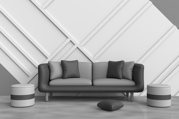Grey living room are decorated with black sofa, black and grey pillows, grey chair, white wood wall it is grid pattern and the cement floor with the reflection of natural light. 3d render.