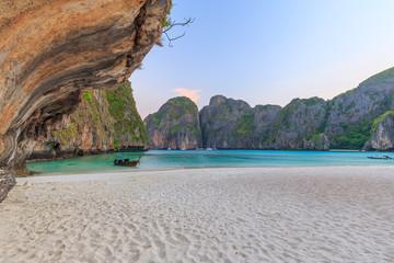 Maya Bay is snorkeling point famous tour lagoon in Phi Phi Islands, Krabi , Thailand