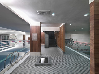 Large tile indoor swimming pool