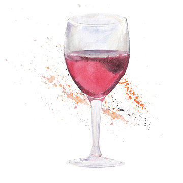 The wine glass isolated on a white background, a watercolor illustration in hand-drawn style.