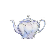 The classic teapot isolated on white background, watercolor illustration in hand-drawn style.