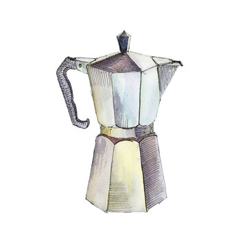 The coffee maker isolated on white background, watercolor illustration in hand-drawn style.