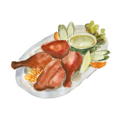 The chicken biryani dish isolated on white background, watercolor illustration in hand-drawn style.