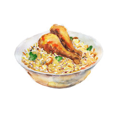The chicken fry rice national dish isolated on white background, watercolor illustration in hand-drawn style.