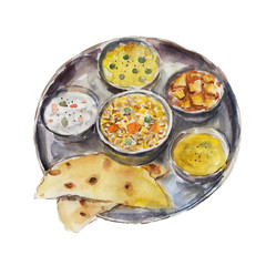 The national dish indian thali isolated on white background, watercolor illustration in hand-drawn style.
