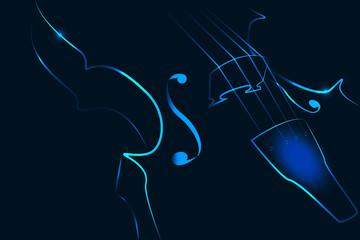 Violin in neon on a dark background