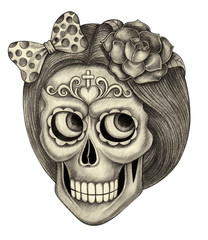 Art women skull day of the dead.