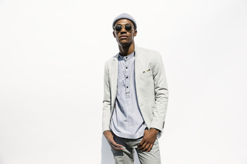 Portrait of serious Black man wearing sunglasses