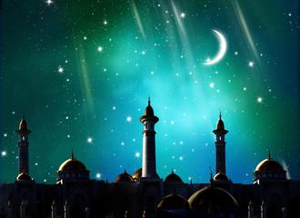 Ramadan Kareem background.Crescent moon at a top of a mosque.Islamic greeting  Eid Mubarak cards for Muslim Holidays.Eid-Ul-Adha festival celebration