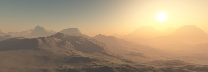 Panorama of the desert, view of a beautiful desert landscape, 3d rendering