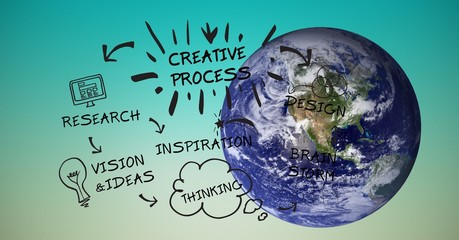 Digital composite image of globe with creative process graphics