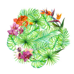 Tropical leaves, exotic flowers. Round background. Watercolor