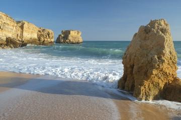 Sao Rafael Beach in Albufeira. A popular travel and vacations destination. Algarve, Portugal