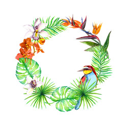 Tropical leaves, exotic bird, orchid flowers. Floral wreath. Watercolor