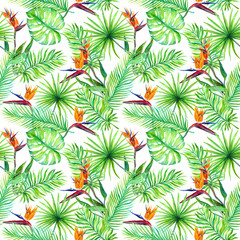 Tropic leaves, exotic bird flowers. Repeating pattern. Watercolor