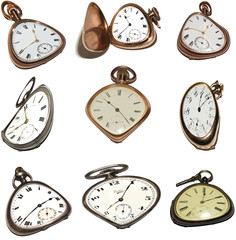 Pocket Watch Vectors In Abstract Melted Style