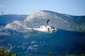 Black hawk helicopter uh 60 rescue team nose up