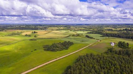 Drone flight over the farmland