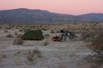 Wild camping in the remote Sonoran Desert, Baja California Norte, Mexico