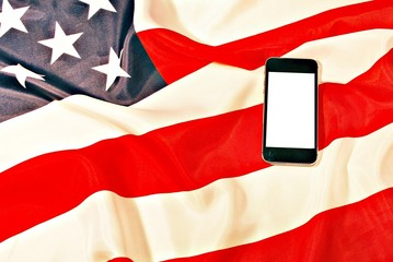 Smartphone and Us flag