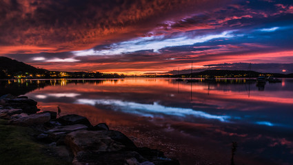 Vibrant Dawn Waterscape over the Bay
