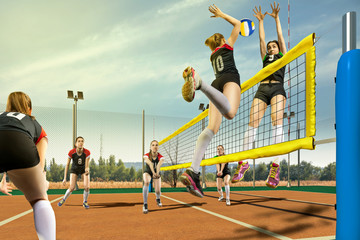 Female volleyball players having match in sunny day
