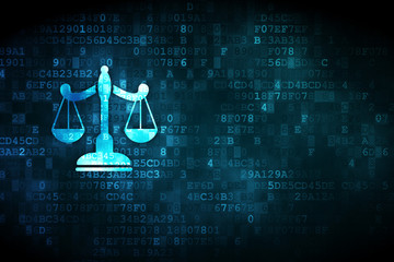 Law concept: Scales on digital background