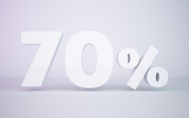 3D rendering white 70 percentage isolated white background