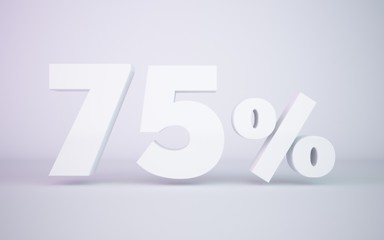 3D rendering white 75 percentage isolated white background