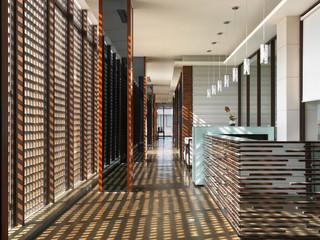 Hallway with grid shadows from windows