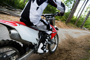 Italy, Tuscany, Florence, Young sport man outdoor, Motocross