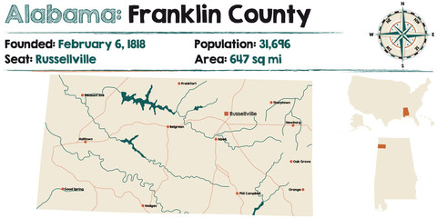 Large and detailed map of Franklin County in Alabama