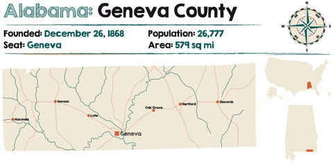 Large and detailed map of Geneva County in Alabama