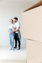 Close up of boxes in new home of lovers