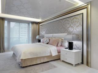 Elegant bedroom with printed wall paper