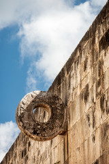 The goal at the Great Ballcourt at Chichen Itza in Yucatan peninsula, Mexico.