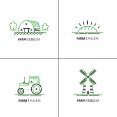 Vector set of logo design templates in green and black linear style - farm symbols.