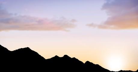 Foto op Plexiglas Heuvel Silhouette hills against sky during sunset