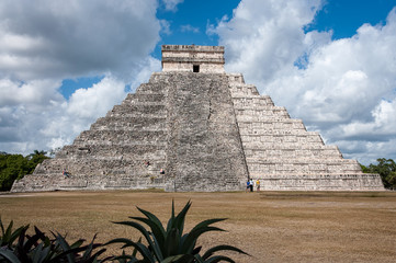 El Castillo (The Kukulkan Temple) of Chichen Itza, Mayan stepped pyramid in Mexico